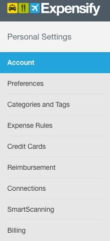 menu personalizzazioni