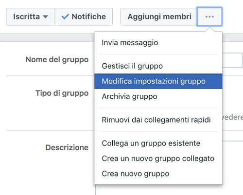 personalizzare un gruppo facebook