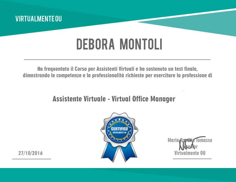 assistente virtuale certificata debora montoli